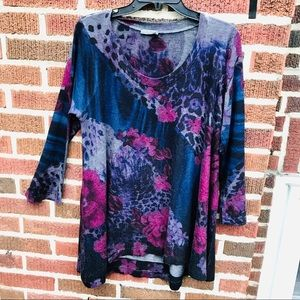 Nally & Millie Floral  Stretch Knit Tunic Top